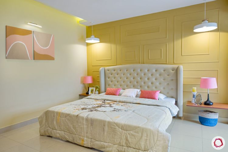 types of house paint-yellow wall-upholstered bed