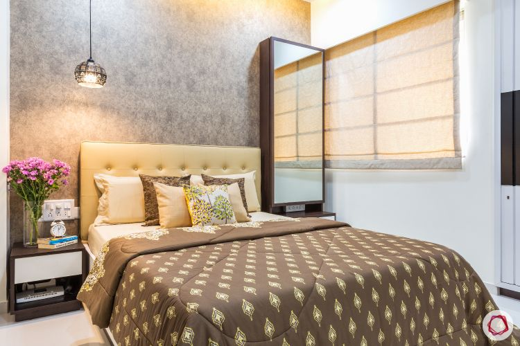 livspacehomes-low budget house-master bedroom-accent wall-pendant light