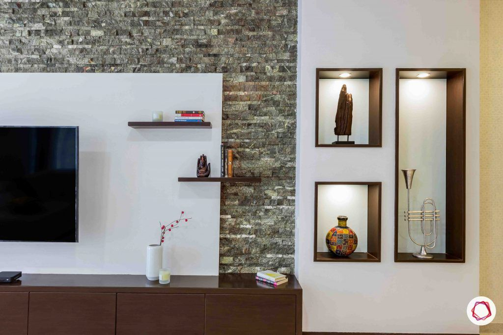 sobha forest view-wall niches-tv unit-display-cove lights