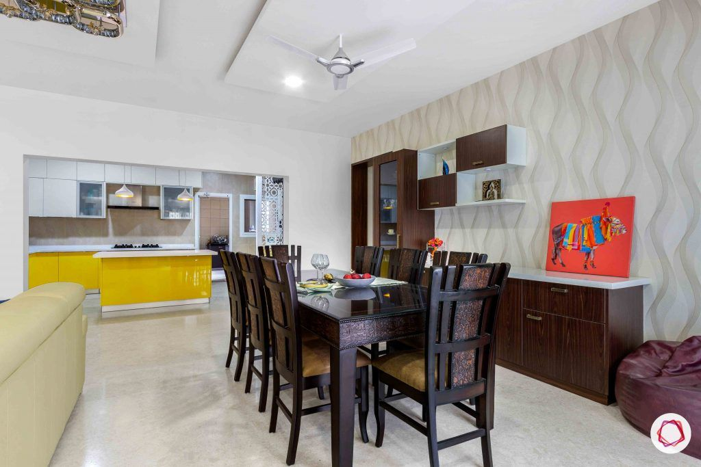 sobha forest view-dining room-crockery unit-dining table