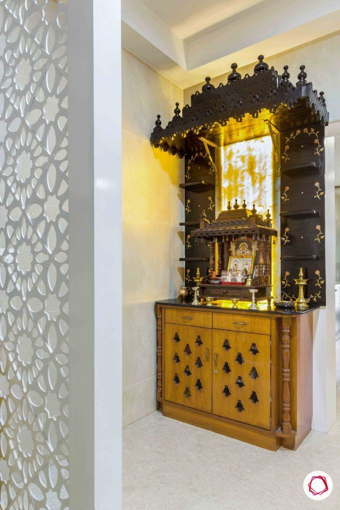sobha forest view-wooden pooja unit-carved out frame-storage cabinets-ambient lighting