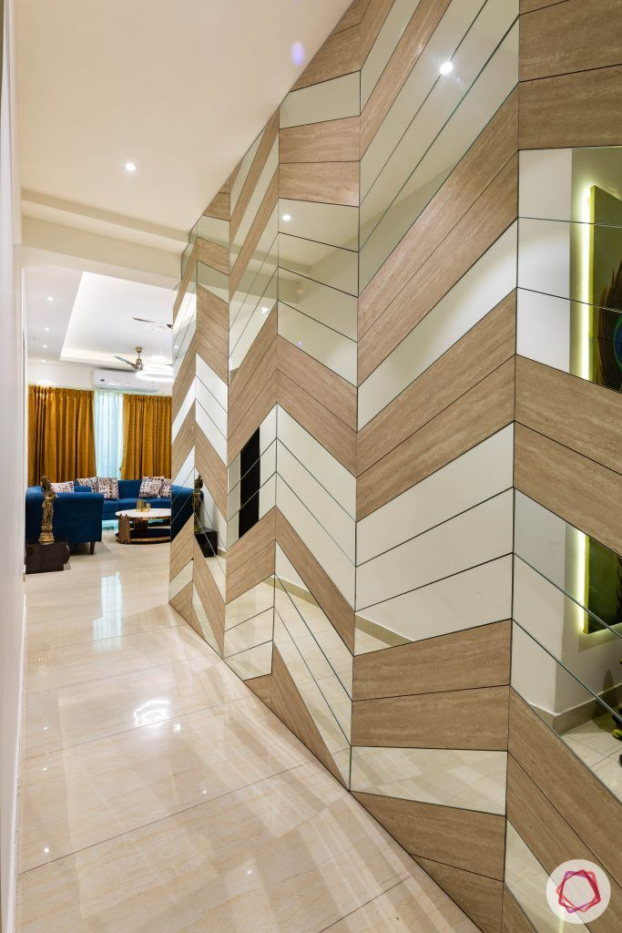 3 bhk flat-home entrance-foyer-wall paneling-wooden and mirror wall panel