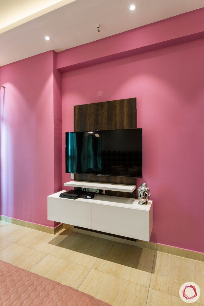 3 bhk flat-bedroom-tv unit-pink wall-wall paint