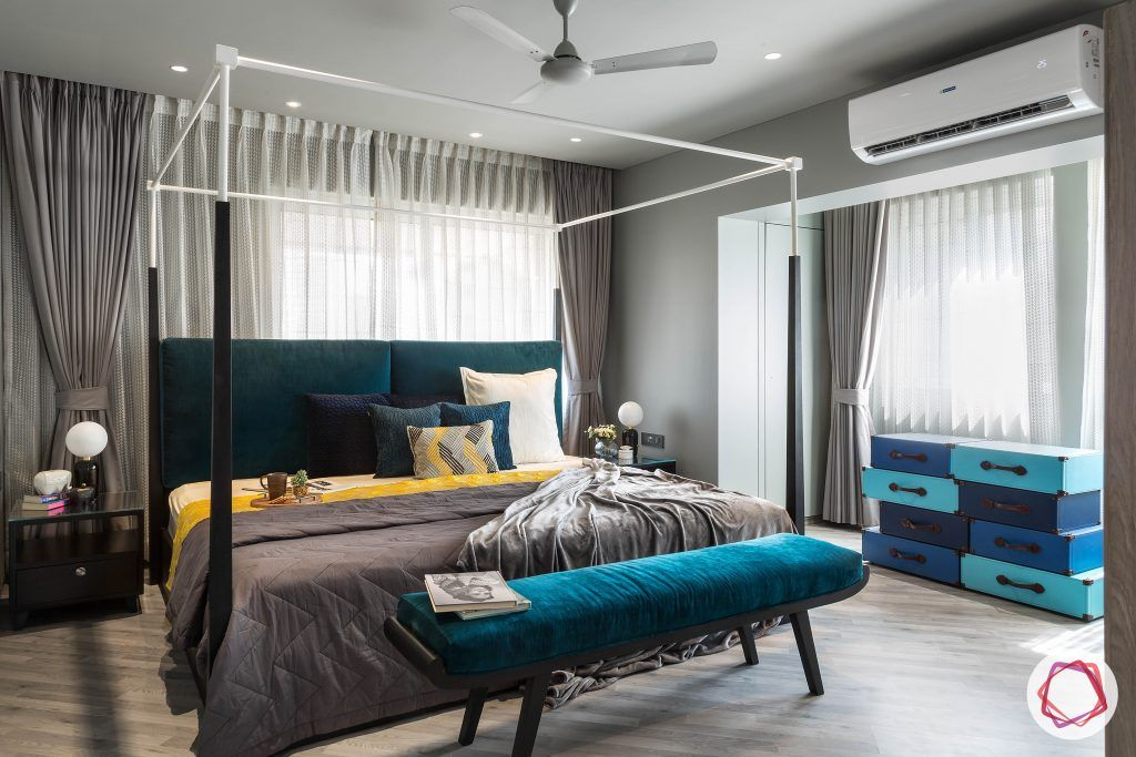 4bhk house plan-master bedroom designs-four poster bed designs-king size beds-wooden flooring designs-wooden bed designs-ottoman at foot of bed