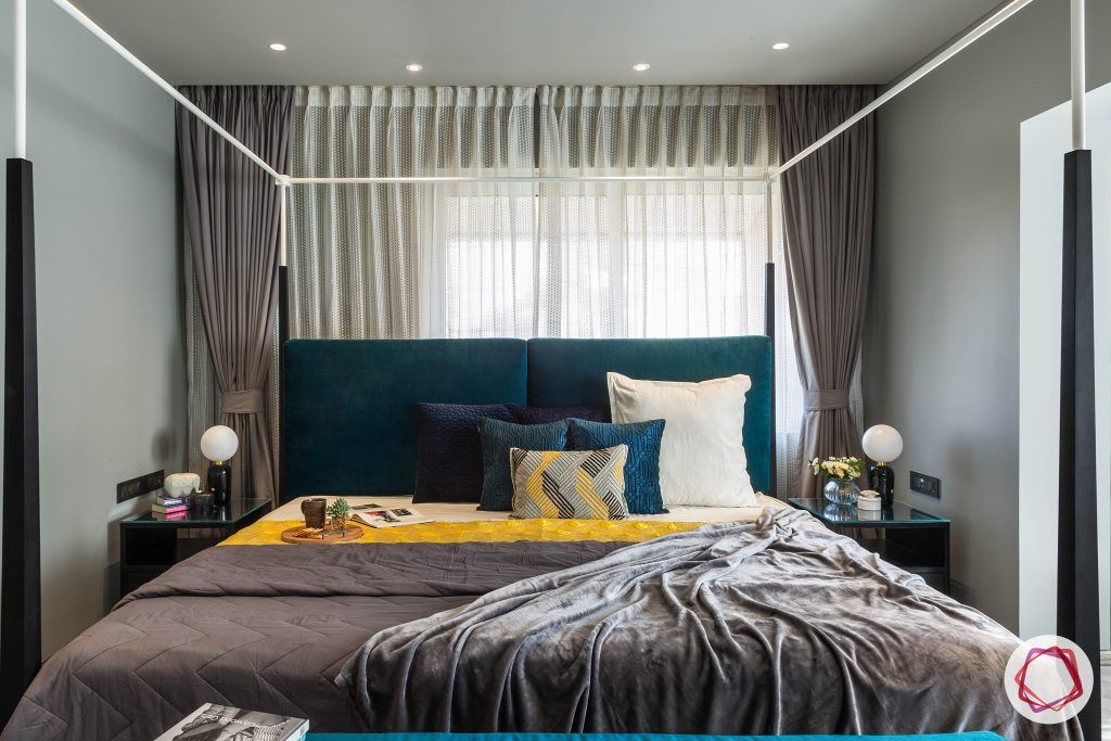 4bhk house plan-master bedroom designs-four poster bed designs-king size beds-headboard designs-teal headboard