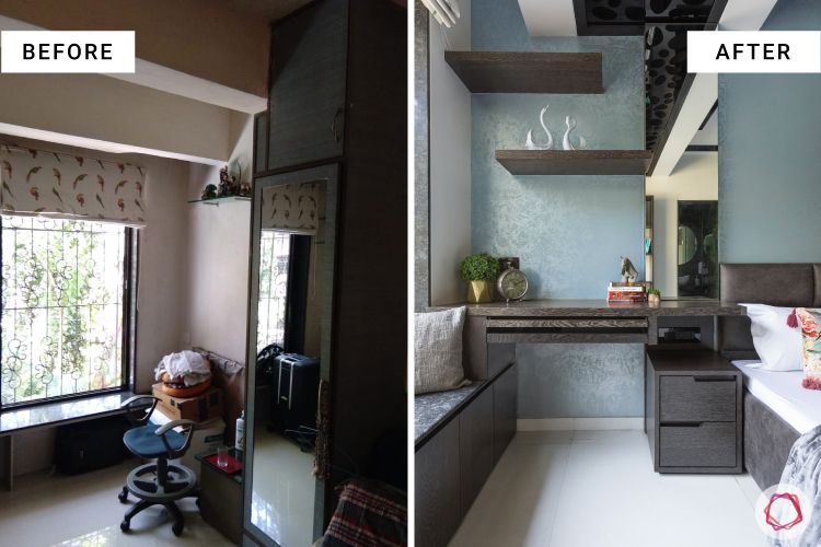 master bedroom-before after-renovation-study table-display shelves-compact table