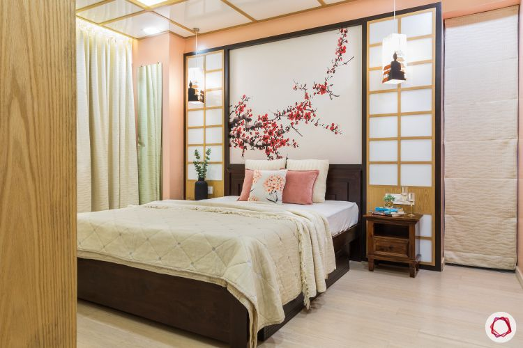 master-bedroom-japanese-black-bed-wooden-wall-flowers-pink