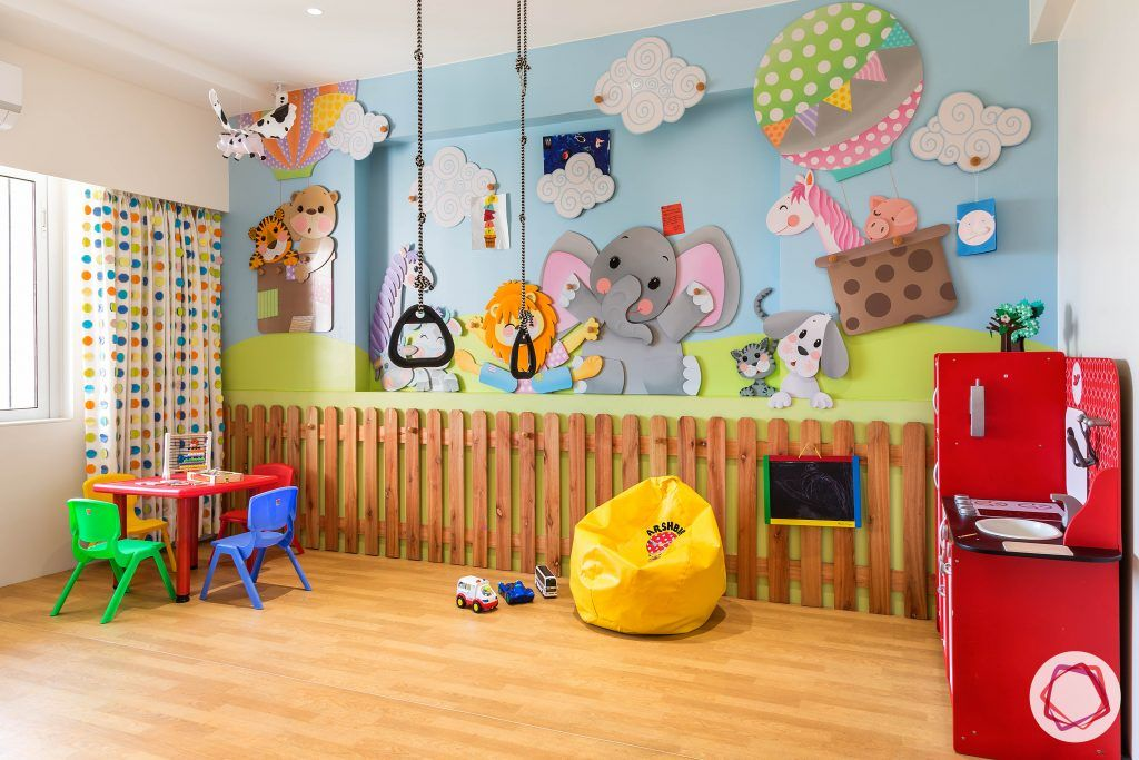kids-room-animal-accent-wall-kitchen-set-blackboard-fence-toys