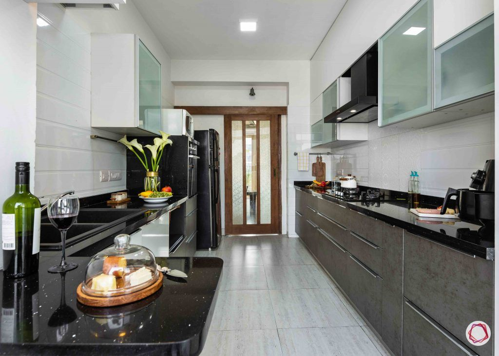 small kitchen design-neutral kitchen-grey cabinets-white cabinets-parallel kitchen