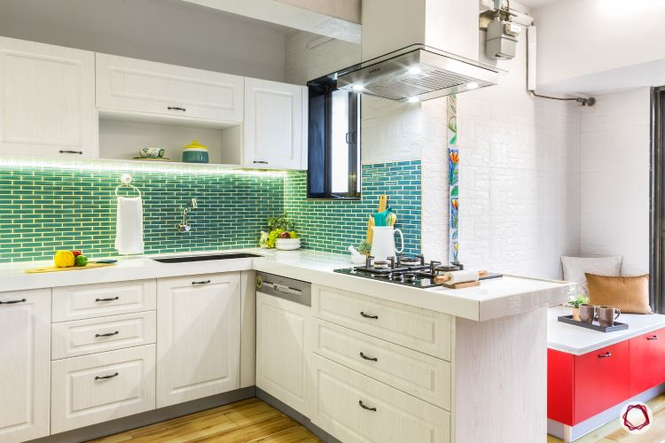 small kitchen design-white-green-country-style-backsplash-profile-lights