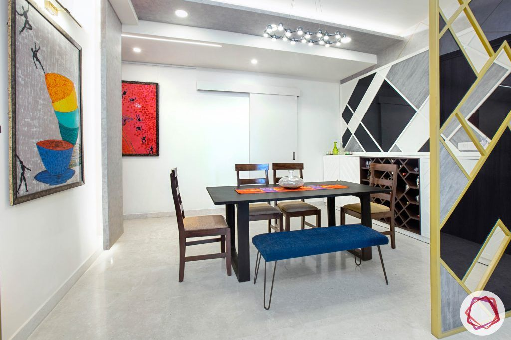 best interior designers in gurgaon-partition designs-dining set with bench-bar unit designs