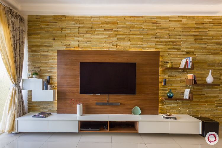 stone cladded wall-accent wall-wooden panel-display ledges