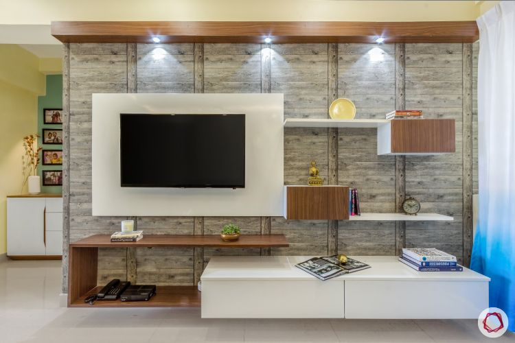 home bangalore-living room-tv unit-shelves-cabinets-down lights