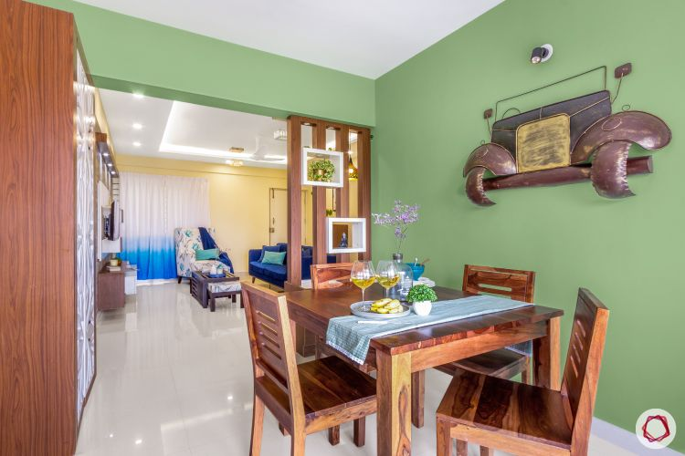 home bangalore-dining room-green wall-wooden table