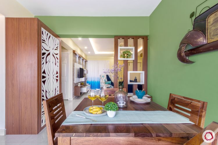 home bangalore-dining room-wooden table-partition