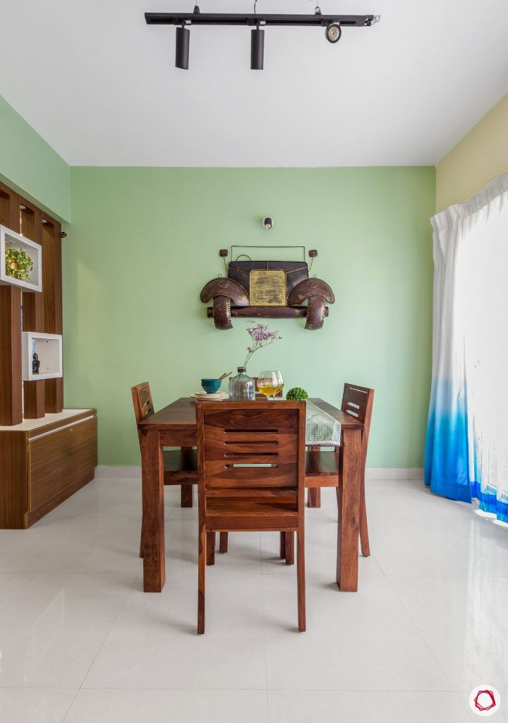 home bangalore-dining room-wooden dining table-dining chairs-green wall