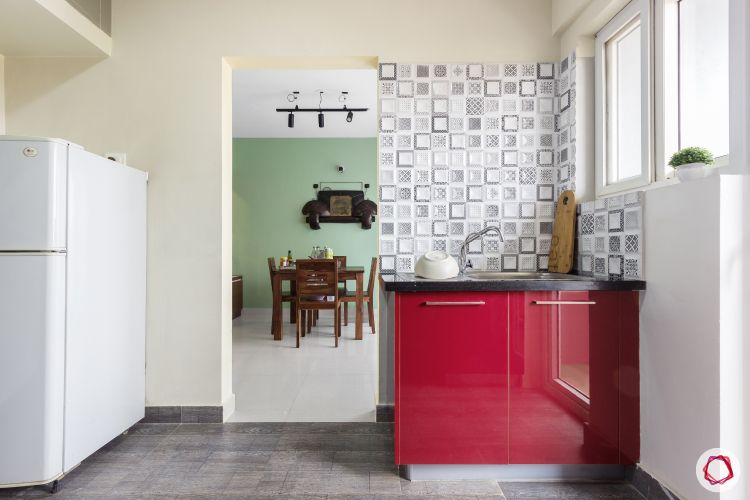 home bangalore-modular kitchen-red and white kitchen-wet area