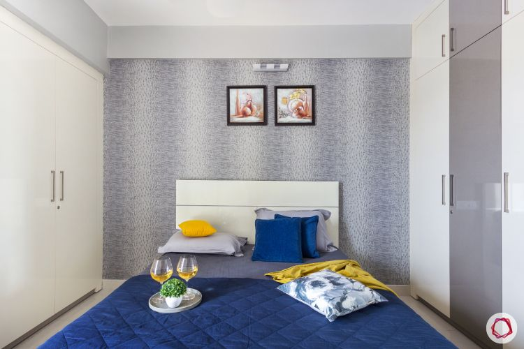 home bangalore-master bedroom-white bed-grey wallpaper