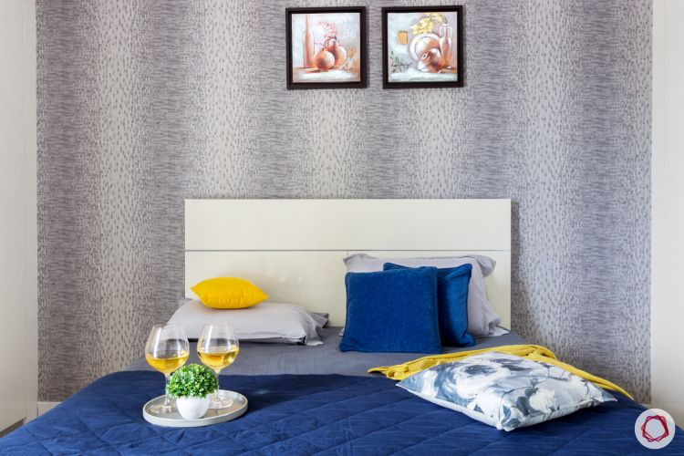 home bangalore-master bedroom-white bed-printed wallpaper-laminate bed