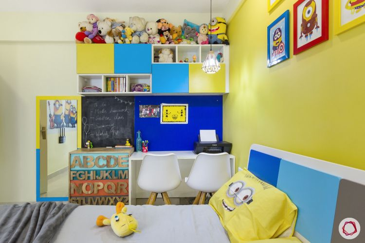 home bangalore-kids bedroom-minion theme-bed-study table