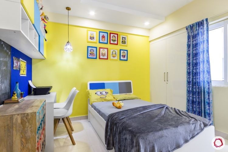 home bangalore-kids bedroom-minion theme-yellow wall-wall frames