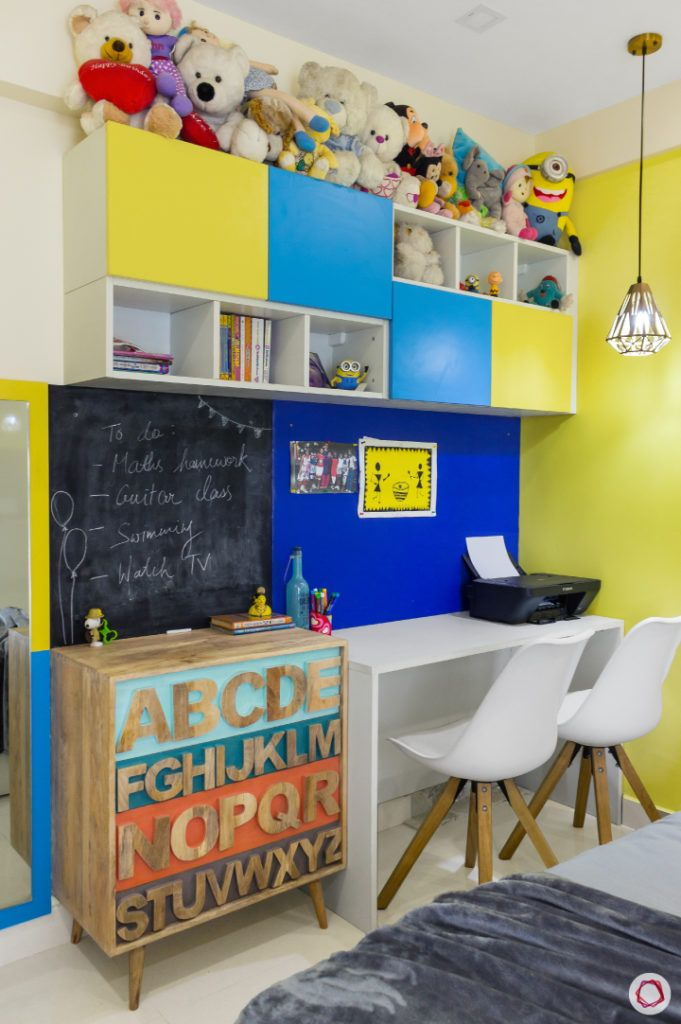 home bangalore-kids bedroom-minion theme-chalkboard-study table