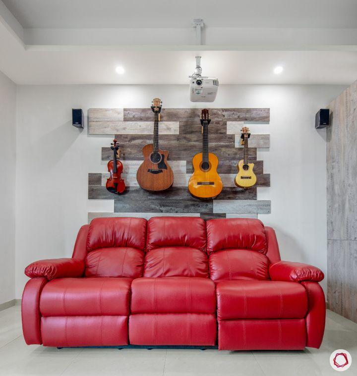 sunworld vanalika-red recliner-guitar wall art-laminate wall panels-projector