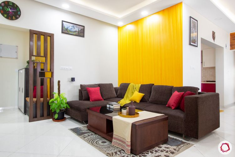 types of house paint-yellow wall-living room