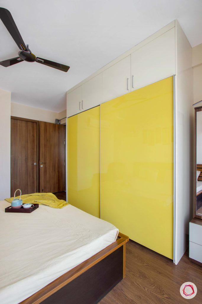snn raj greenbay-master bedroom-yellow wardrobe-sliding wardrobe-lacquered glass shutter