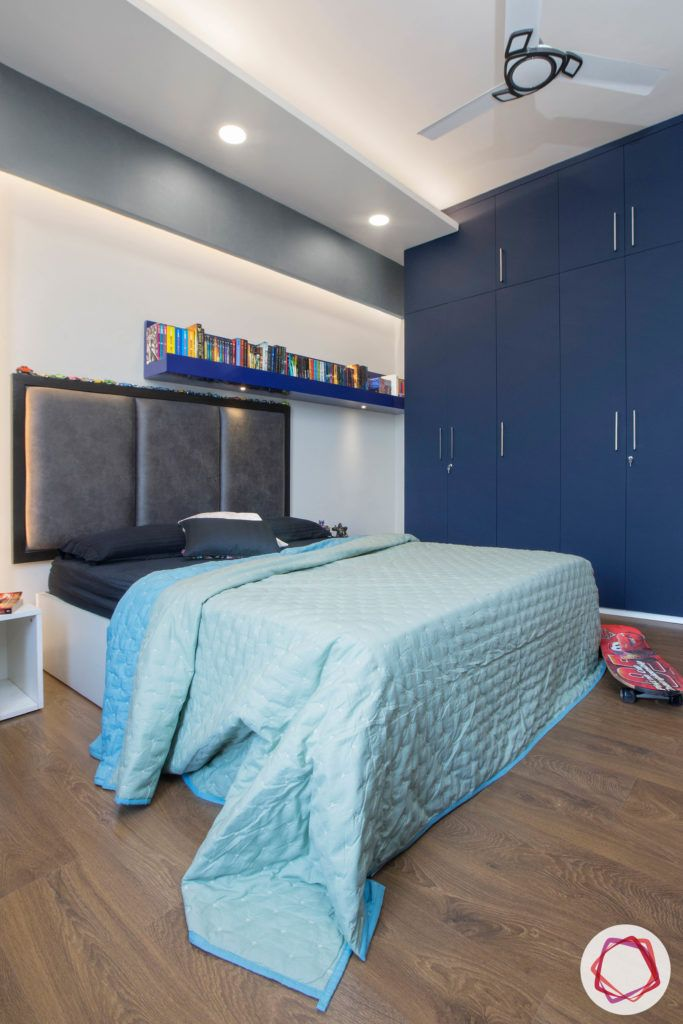 calming colors-navy blue wardrobe designs-blue shelf designs