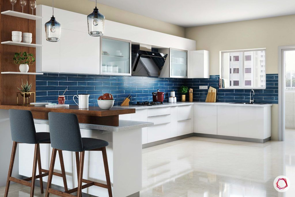 calming colors-navy blue backsplash-white kitchen designs