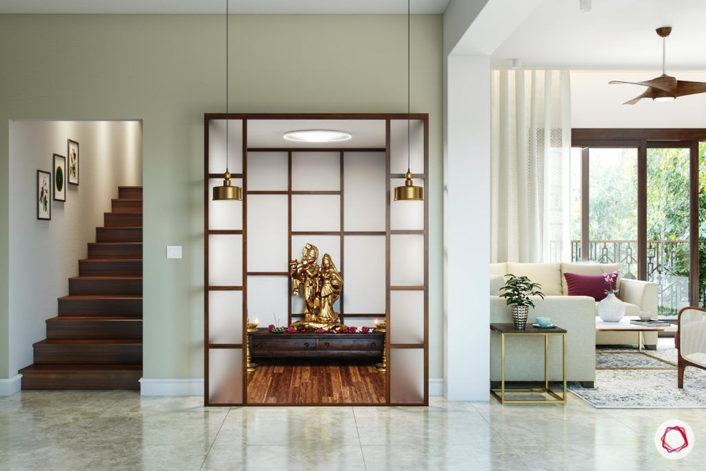 simple pooja mandir designs for walls_frosted glass panels_wooden floor_wall niche pooja