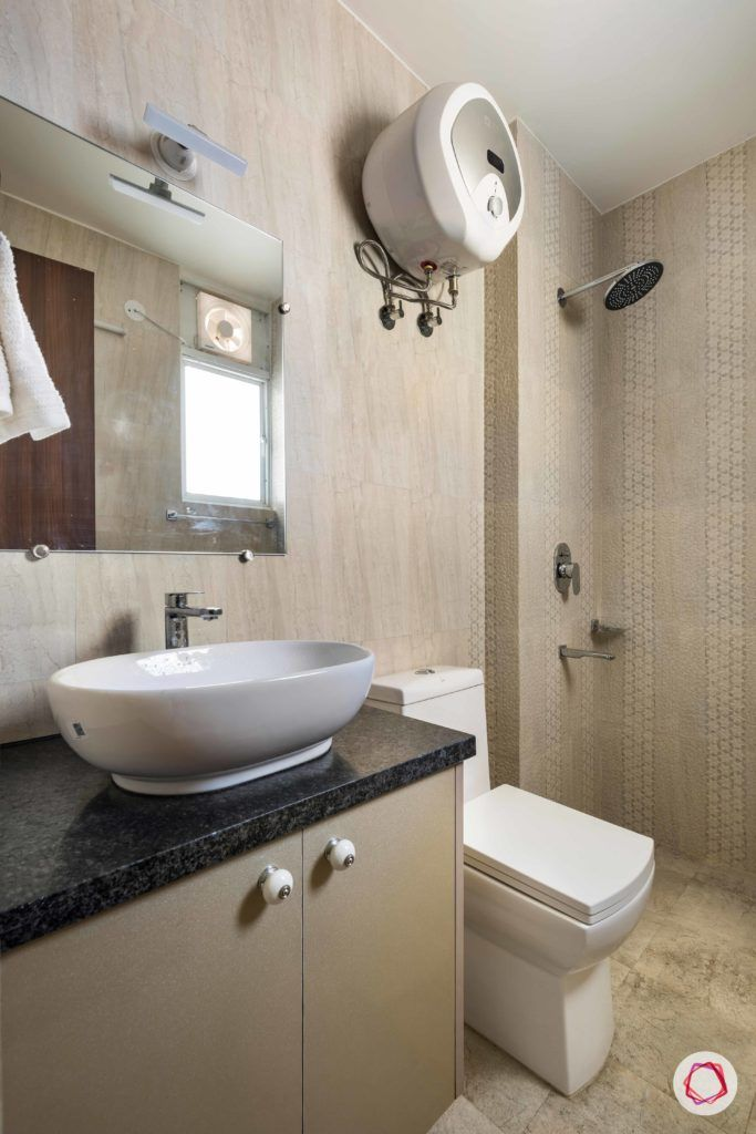 bathroom-printed-tiles-brown-sink-storage