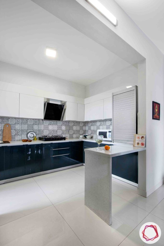 dnr atmosphere-two toned kitchen design-breakfast counter designs