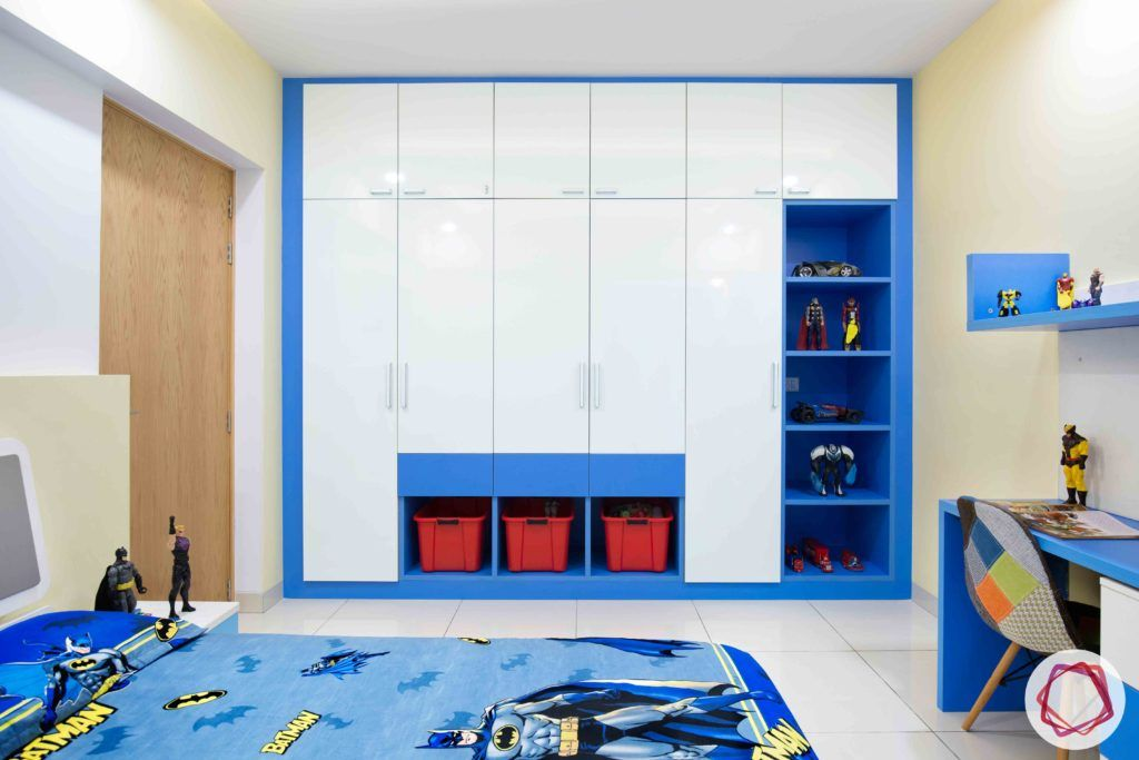kids wardrobe designs-baskets-open shelves-blue and white wardrobe