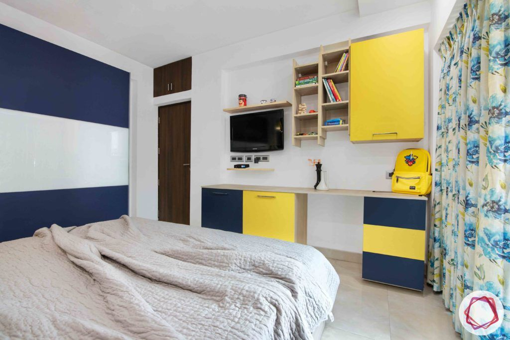 kids-bedroom-yellow-blue-cabinet-wooden-TV-unit