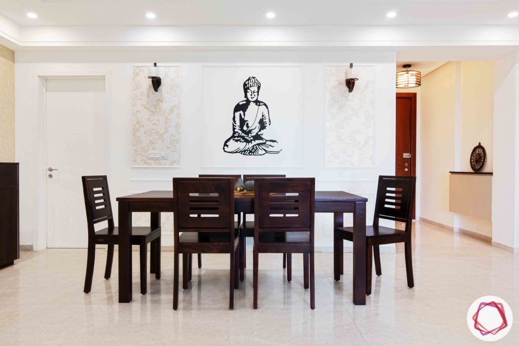 dlf gurgaon-wooden dining table designs-buddha decal designs