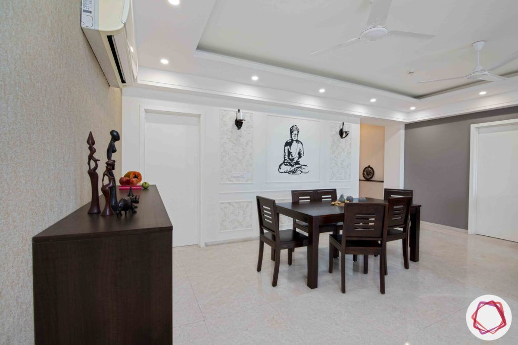 dlf gurgaon-wooden dining table designs-grey wall paint ideas
