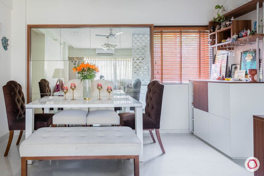modern house images-dining room-mirror wall panel-brown chairs-white dining table