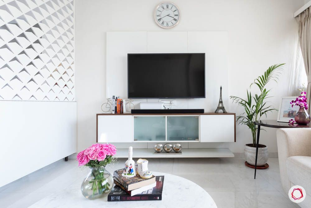 modern house images-living room-laminate tv unit-frosted glass cabinets