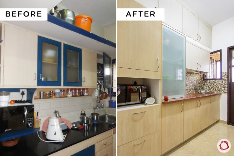 Simple kitchen designs for Indian homes-cabinets-before-after-beige-white
