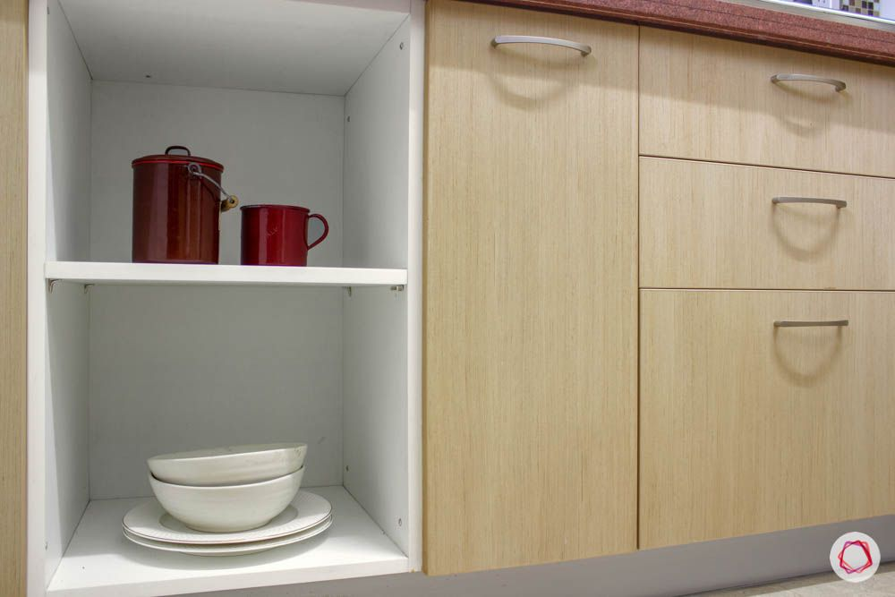 Simple kitchen designs for Indian homes-open-shelves-drawers