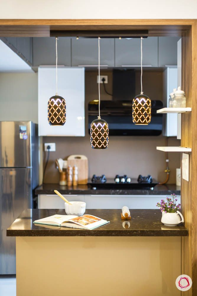 hanging lights-black pendant lights-breakfast counter designs