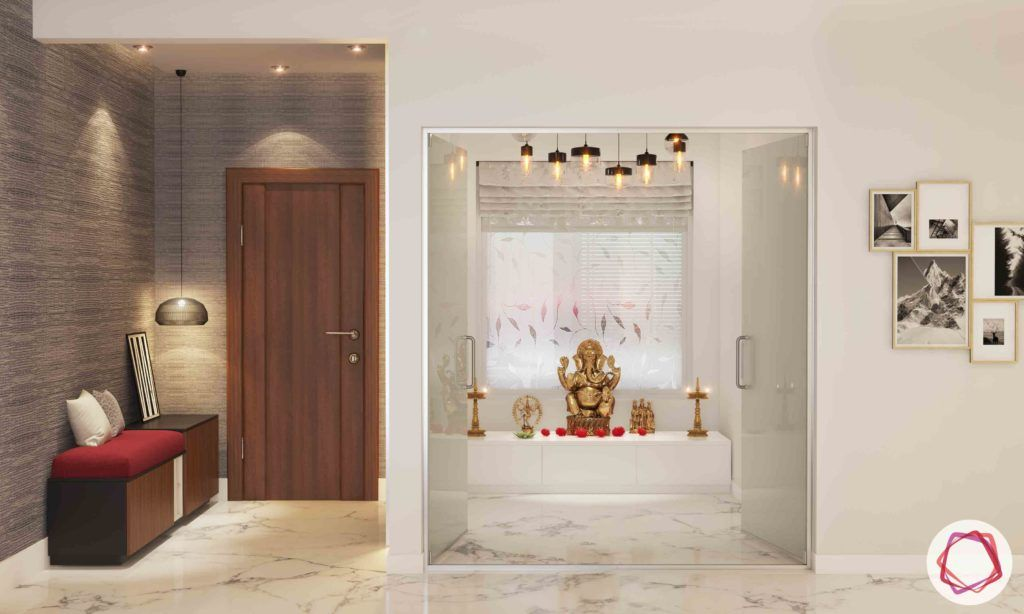 vastu colours for pooja room-white pooja room-marble flooring-glass pooja door