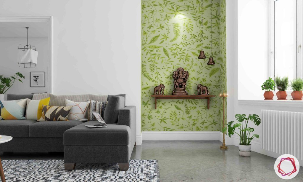 vastu colours for pooja room-green-green pooja room-wooden ledge-antique lamps