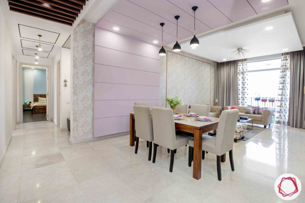 ireo victory valley-dining room-lavender wall panel-pendant lights
