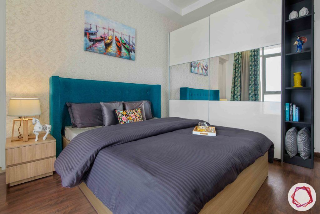 ireo victory valley-parents room-sliding wardrobes-wooden bed-open shelves
