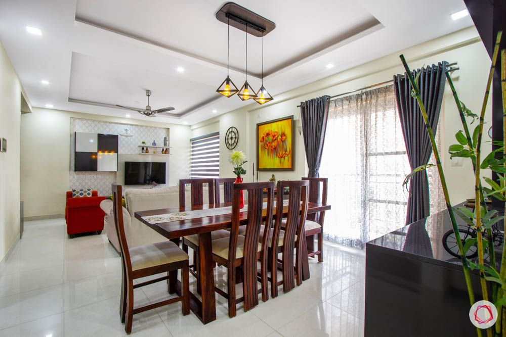 Vaswani Brentwood-dining-room-wooden-table-chairs-accent-light-false-ceiling