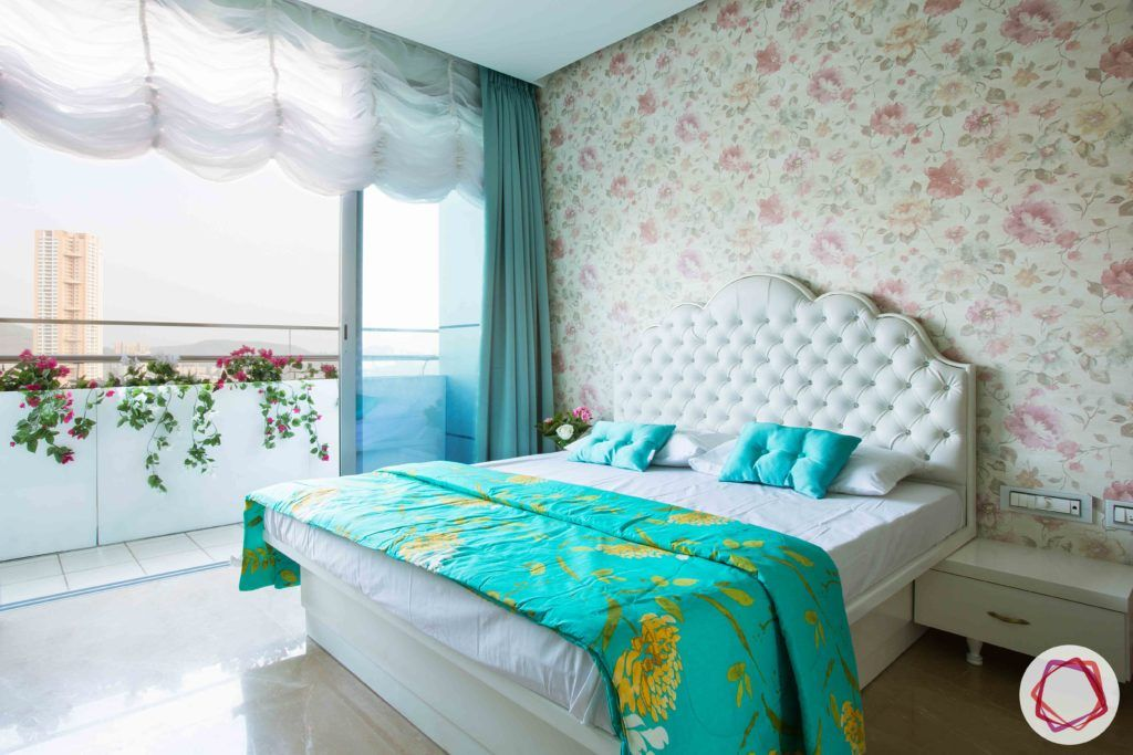 dream room-floral wallpaper designs-white curtain ideas