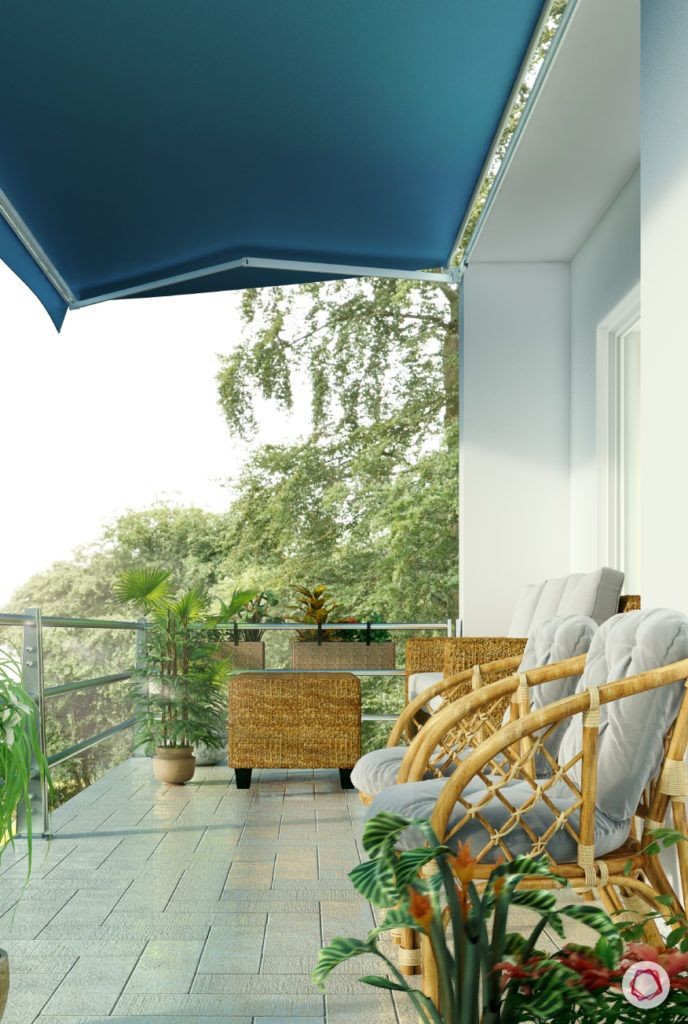 modern balcony design-tie-up-cushions-cane chairs-cane furniture
